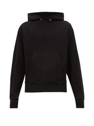 Helmut Lang Monogram Embroidered Cotton Hooded Sweatshirt Black