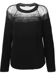 Paul By Paul Smith Sheer Panel Knit Sweater Blue