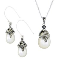 Lord And Taylor Pear Teardrop Earrings Pendant Necklace Set Pearl