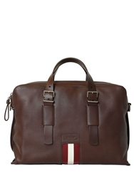 Bally Grained Leather Pc Holder Briefcase Brown