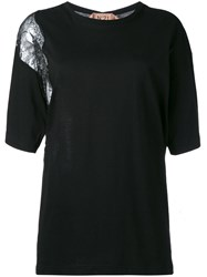 N 21 No21 Lace Insert T Shirt Black