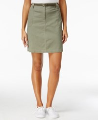Karen Scott Belted Denim Skort Only At Macy's