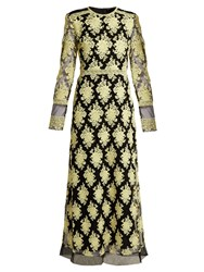 Burberry Floral Embroidered Mesh Dress Yellow Multi