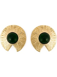 Givenchy Vintage Cabochon Clip On Earrings Metallic
