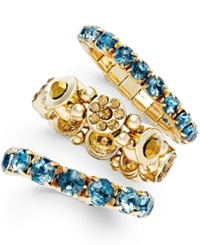 Style And Co. Gold Tone Teal Crystal Stack Rings Only At Macy's