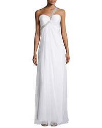 La Femme Beaded One Shoulder Open Back Gown White