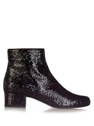 Saint Laurent Babies Glitter Ankle Boots Black