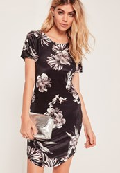 Missguided Black Floral Velvet Bodycon Dress