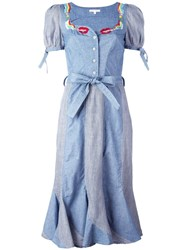 Olympia Le Tan Smoking Lips Beaded Peasant Dress Blue