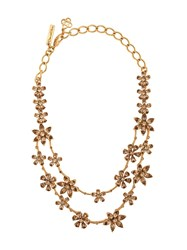 Oscar De La Renta Flower Embellished Necklace Gold