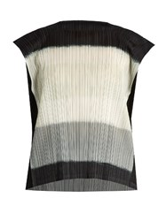 Issey Miyake Pleated Capped Sleeved Top Black Grey