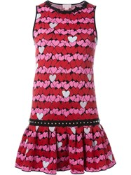 Giamba Heart Pattern Knit Dress Pink And Purple