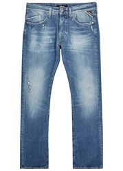 Replay Waitom Distressed Straight Leg Jeans Blue