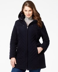Laundry By Design Plus Size Faux Fur Lined Quilted Velour Coat Navy