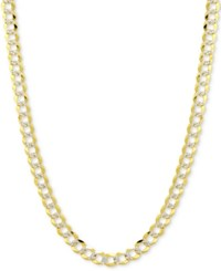 Macy's 20 Two Tone Open Curb Chain Necklace In Solid 14K Gold And White Gold