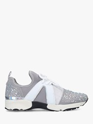 Carvela Lament Bling Lace Up Trainers Grey