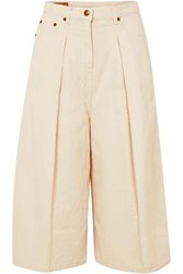 Mcq By Alexander Mcqueen Woman Cropped Cotton And Linen Blend Wide Leg Pants Ivory