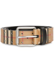 Burberry Perforated Vintage Check Leather Belt Brown