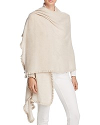 Bloomingdale's C By Cashmere Ruffle Wrap Heather Oatmeal