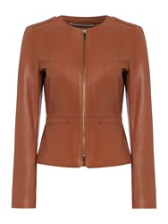 Hugo Boss Sarena Collarless Zip Leather Jacket Brown
