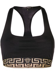 Versace Greek Key Logo Trim Sports Bra Black