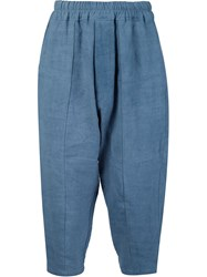 By Walid Cropped Drop Crotch Trousers Blue