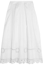 Temperley London Bellanca Embroidered Cotton Poplin Midi Skirt White