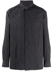 Issey Miyake Wrinkle Effect Buttoned Shirt Black