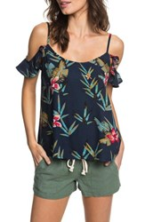Roxy Dreamland Groove Floral Print Cold Shoulder Top Blue Isle