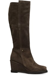 Chuckies New York Wedge Knee High Boots Brown