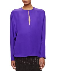 Tamara Mellon Long Sleeve Silk Keyhole Blouse Poison Size 4