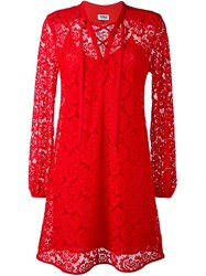 Sonia Rykiel By Tied Neckline Lace Dress Red