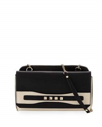 Neiman Marcus Studded Flap Top Clutch Bone Black