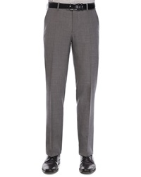 Etro Flat Front Wool Trousers Med Gray