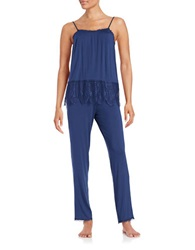 Joe's Jeans Lace Accented Camisole And Pants Set Navy