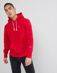 Champion Reverse Weave Hoodie With Small Logo In Red