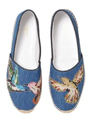 Red Valentino Embroidered Denim Espadrille Flats