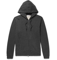 Sunspel Brushed Loopback Cotton Jersey Zip Up Hoodie Charcoal