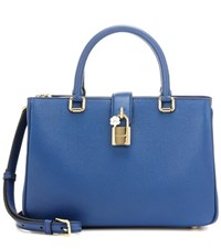 Dolce And Gabbana Shopping Small Leather Cross Body Bag Blue
