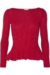 Oscar De La Renta Cable Knit Wool And Cashmere Blend Peplum Sweater Red