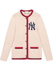 Gucci Cardigan With New York Yankees Tm Patch Nude And Neutrals