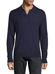 Saks Fifth Avenue Black Long Sleeve Wool Polo Navy