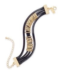Inc International Concepts Gold Tone Black Braided Nylon Cord Bracelet Only At Macy's