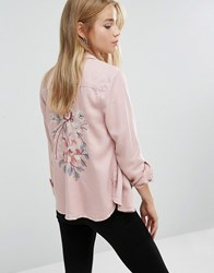 New Look Embroidered Back Shirt Nude Pink