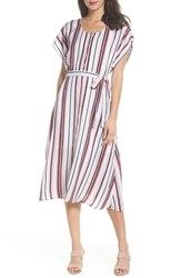 Charles Henry Belted Button Down Midi Dress Multi Stripe
