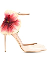 Brian Atwood Flower Detail 'Oriana' Sandals Pink And Purple