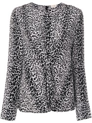 Saint Laurent Leopard Print Gathered Blouse Women Silk 38 Black