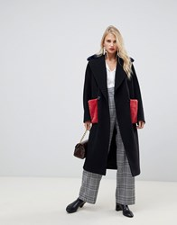 Helene Berman Double Breasted Coat With Contrast Faux Fur Pockets Black