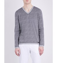 Armani Collezioni Silk And Cotton Blend V Neck Knitted Jumper Grey