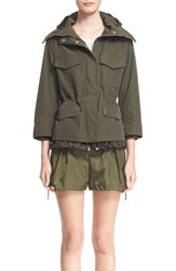 Women's Moncler 'Pacquerette' Peplum Hem Hooded Rain Jacket Military